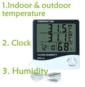 HY03-Hygrometer เครื่องวัดอุณหภูมิ ภายใน ภายนอก เครื่องวัดความชื้น และนาฬิกา HTC2