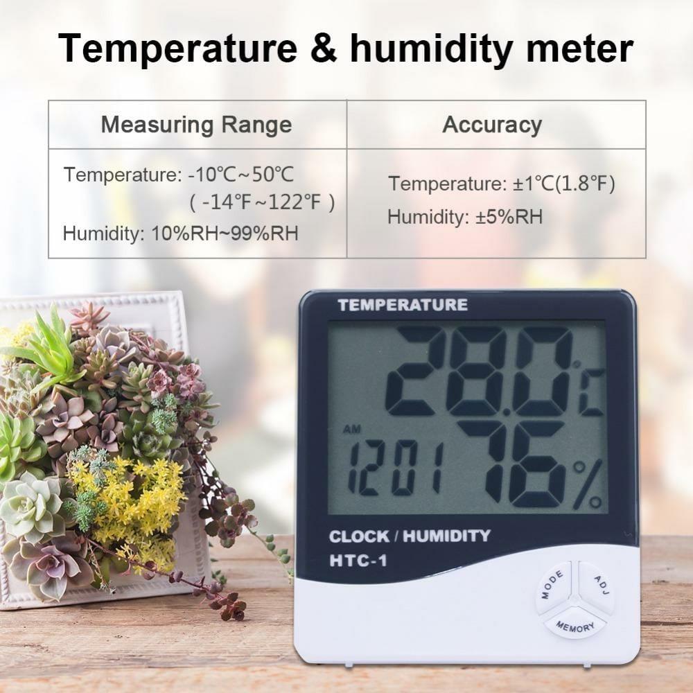 HY02-เครื่อง วัดอุณหภูมิ ความชื้น และนาฬิกา Hygro-Thermometer HTC1